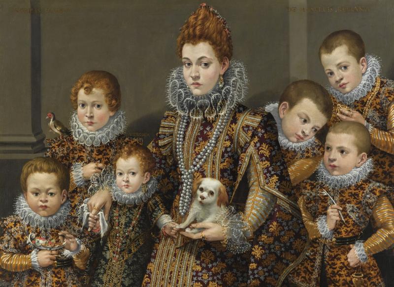 Moglie del nobile Pierino Maselli, con sei dei suoi figli (cinque figli e sua figlia Verginia)