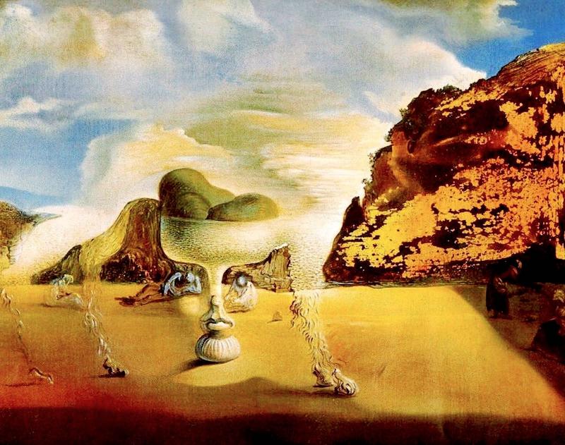 Afgano invisible con aparición, sobre la playa, del rostro de García Lorca, en forma de frutero con tres higos