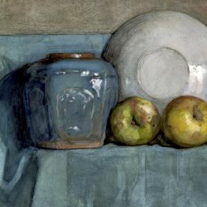 Appels, gemberpot en bord op een richel