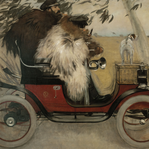 Ramón Casas y Pere Romeu en automóvil