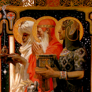 The Three Kings, kneeling with gifts