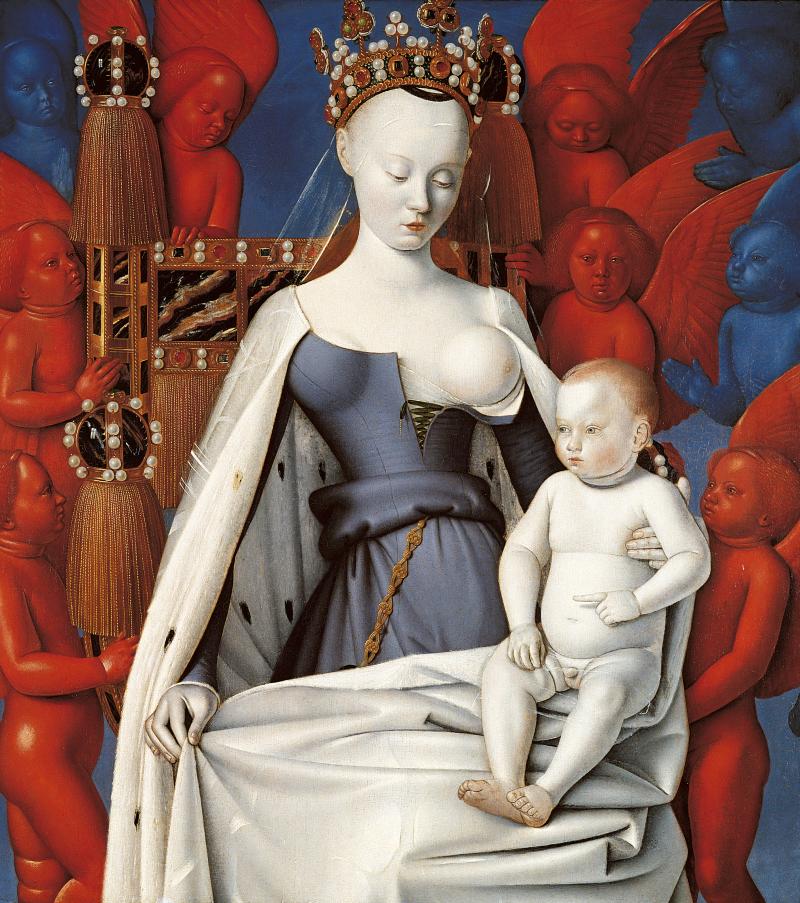 Maria en kind omringd door serafijnen en cherubijnen