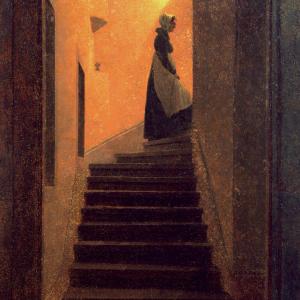 Frau auf der Treppe
