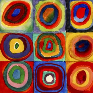 Farbstudie – Quadrate mit konzentrischen Ringen
