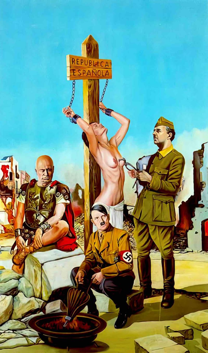 Alegoría de Musolini, Hitler y Franco torturando a la opinión pública