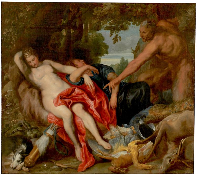 Diana en haar nimf verrast door een sater.