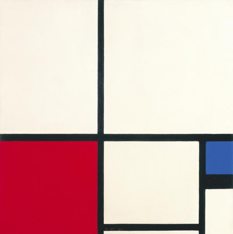 Kleur compositie / compositie nr. I met rood en blauw