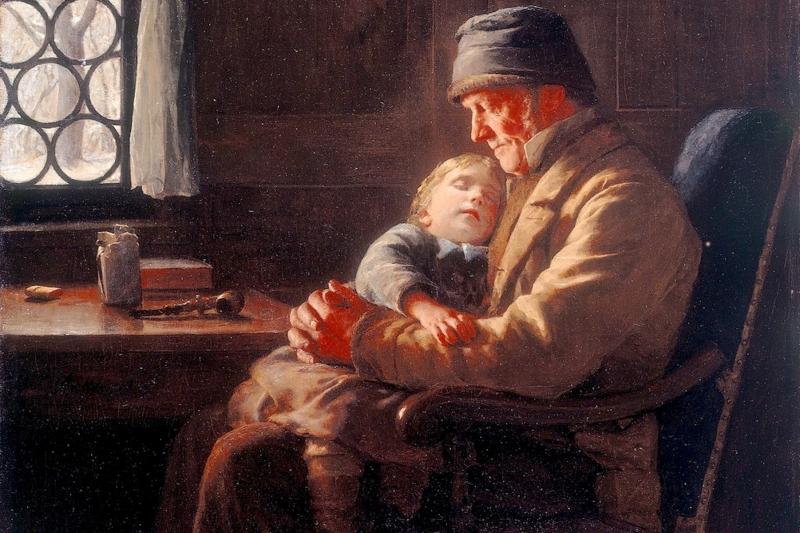 Grossvater mit Schlafender Enkelin