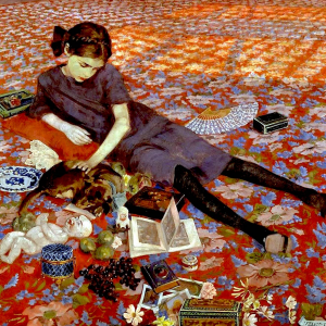 Ragazza su un tappeto rosso