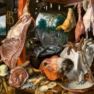 Een vleesstal met de heilige familie die aalmoezen geeft