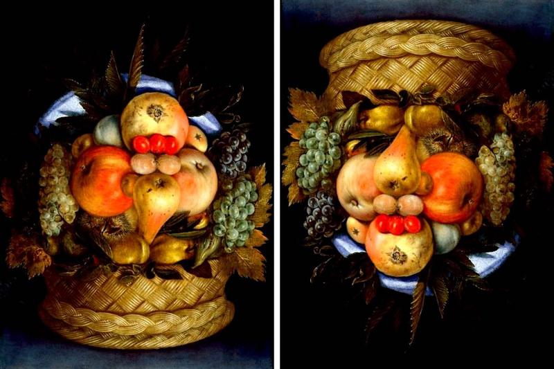 Testa reversibile con cesto di frutta