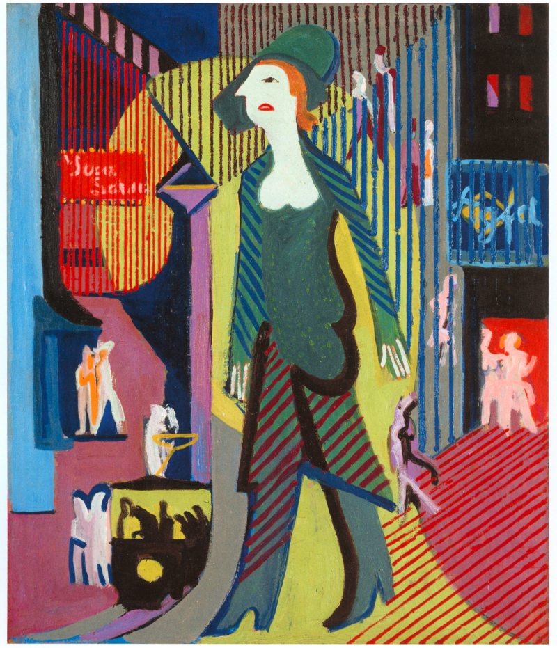 Nachtfrau - Frau geht über nächtliche Straße