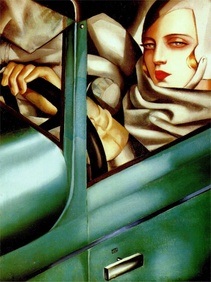 Tamara in a Green Bugatti