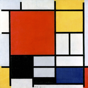 Compositie in rood, geel en blauw