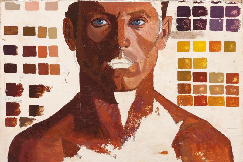 Retrato de hombre con escala de colores