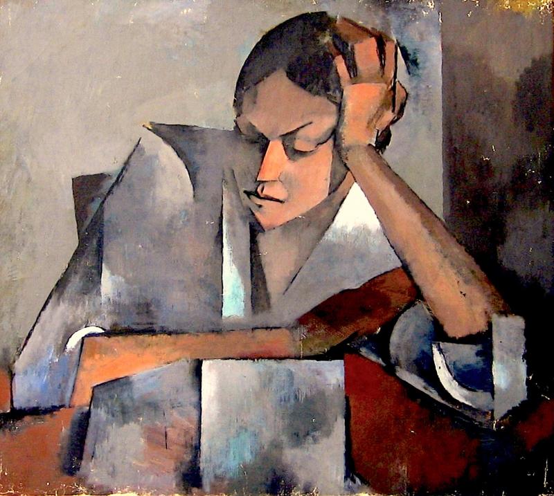 Mujer acodada en mesa