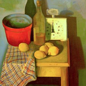 Stillleben mit Küchenwaagen und Zitronen