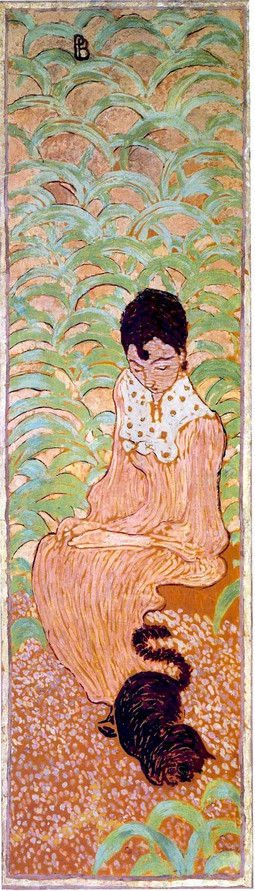 Femmes au jardin : femme assise au chat