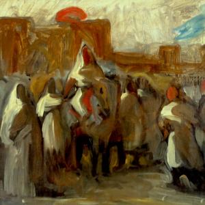 Esquisse pour le tableau Moulay Abd-er-Rahmane, sultan du Maroc, sortant de son palais de Méquinez, entouré de sa garde et de ses principaux officiers.