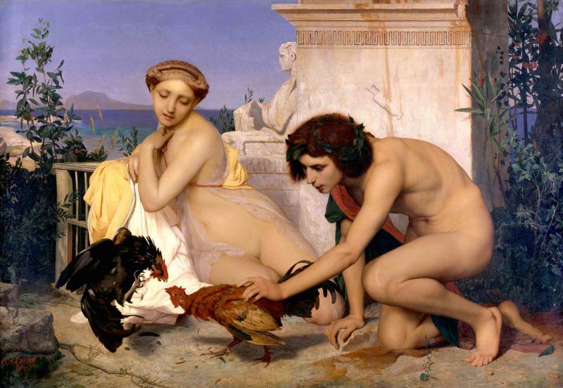 Jeunes Grecs faisant battre des coqs