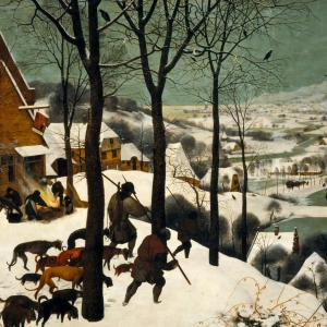 Jagers in de sneeuw