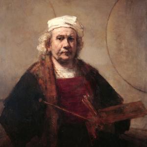 Zelfportret met twee cirkels