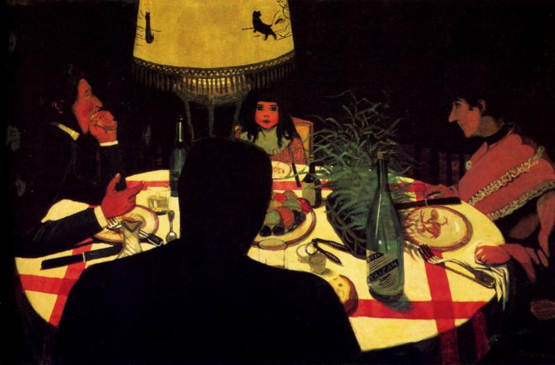 Le dîner, effet de lampe