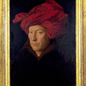 Portret van een man met rode tulband