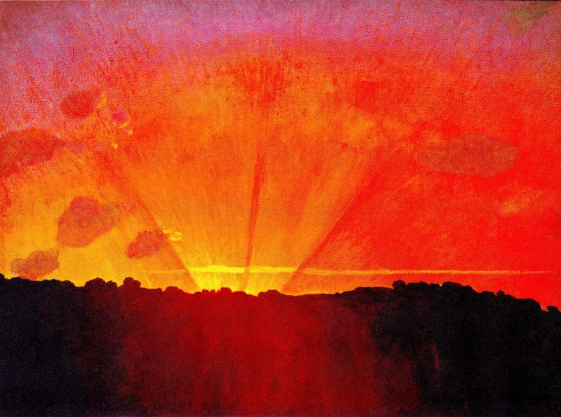 Coucher de soleil, ciel orange