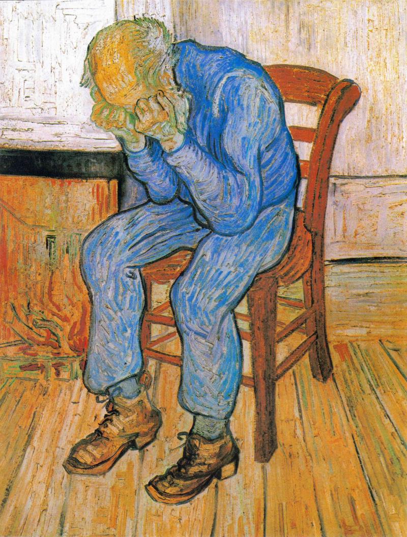 Trauernder alter Mann