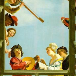 Muzikanten op een balkon